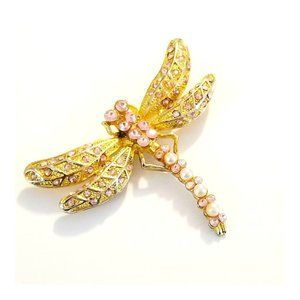 Vintage Dragonfly Brooch with Pink Crystals